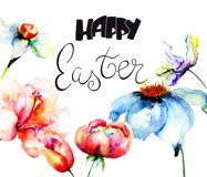 Beautiful flowers with title Happy Easter. Watercolor illustration, Template for greeting card with calligraphy Royalty Free Stock Image
