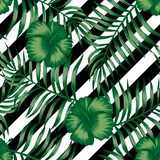 Hibiscus green palm leaves seamless black white background stock illustration