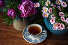 Flowers and Cup of tea at summertime. Beautiful flowers in vase and cup of tea at wooden table. Selective focus Royalty Free Stock Photo