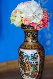 Beautiful flowers in vase with light from window. Wedding bouquet.  Stock Image