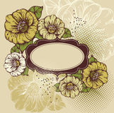Beautiful flowers with a vintage frame Stock Photos
