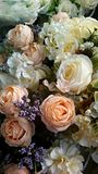 Beautiful flowers. Wedding celebration color gorgeous bouquet of roses ornament in closeup stock photography