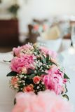 Beautiful flowers on wedding ceremony. Beautiful fresh flowers roses on wedding ceremony Stock Image