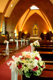 Beautiful flowers wedding decoration in church Stock Images