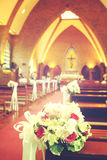 Beautiful flowers wedding decoration in church Royalty Free Stock Photography