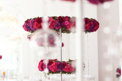 Beautiful flowers on wedding table decoration arrangement Royalty Free Stock Images