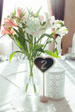 Beautiful flowers on wedding table decoration arrangement Stock Images