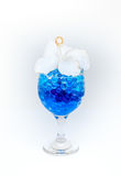 Beautiful flowers in wine glass with hydrogel isolated on white Stock Photos