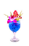 Beautiful flowers in wine glass with hydrogel Stock Photo