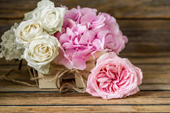 Beautiful flowers on wooden background, various , place for text, closeup stock image
