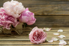 Beautiful flowers on wooden background, various , place for text, closeup royalty free stock images