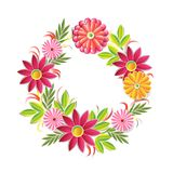 Beautiful Flowers Wreath Isolated On White Background Colorful Floral Round Frame Decoration Element Stock Photography