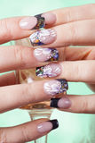 Beautiful flowery manicure Royalty Free Stock Photos