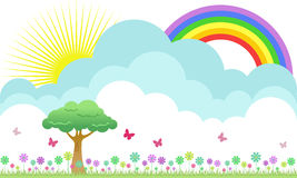 Flowery meadow. A beautiful flowery meadow illustration with rainbow and butterflies Royalty Free Stock Image