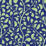 Beautiful flowing green hand drawn foliage design. Seamless vector pattern on textured midnight blue background. Great stock illustration
