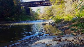 Beautiful Flowing River Water With Riverside Forest Under Railroad Bridge. Sunny Riverbank Trees Along Gentle Canal Under Railway