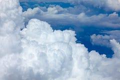 Beautiful fluffy clouds in blue sky, cumulus background Stock Image