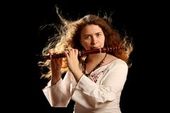 Beautiful Flutist Royalty Free Stock Photography