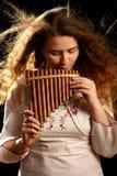 Beautiful Flutist Stock Images