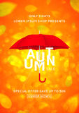 Beautiful flyer with umbrella for autumn sale Royalty Free Stock Images