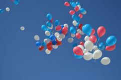 Beautiful flying balloons over the blue sky stock photo