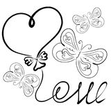 Beautiful flying butterflies, the word LOVE and a balloon in the. Shape of a heart stock illustration