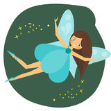 Beautiful flying fairy character with blue wings.  Stock Photos