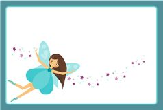 Beautiful flying fairy character with blue wings. Elf princess with magic wand. Blue frame design template for photos, children di. Beautiful flying fairy royalty free illustration