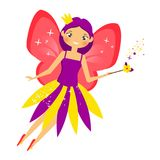 Beautiful flying fairy flapping magic stick. Elf princess with wand. Cartoon style. Beautiful flying fairy in crown flapping magic stick. Elf princess with wand Royalty Free Stock Photography