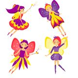 Beautiful flying fairy set. Winged Elf princesses. Cartoon style. Isolated vector illustration for kids and babies Royalty Free Stock Images