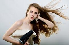 beautiful flying girl hair Στοκ εικόνα με δικαίωμα ελεύθερης χρήσης