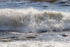 Beautiful foaming wave with scattered crest on the lake. royalty free stock photos