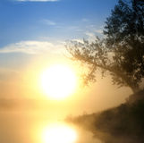 Beautiful fog sunrise on river Royalty Free Stock Images