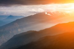Beautiful foggy dawn in the Himalayas, Nepal Royalty Free Stock Photo