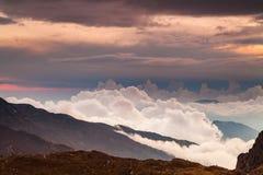 Beautiful foggy dawn in the Himalayas, Nepal Stock Image