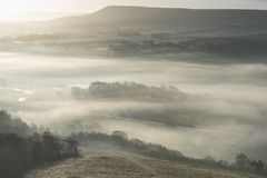 Stunning foggy English rural landscape at sunrise in Winter with. Beautiful foggy English countryside landscape at sunrise in Winter with layers rolling through Royalty Free Stock Photos