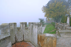 Beautiful foggy morning in the Belgrade fortress Kalemegdan Stock Image