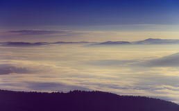 Beautiful foggy morning  in the mountains. Royalty Free Stock Image