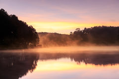 Beautiful foggy sunrise on a lake,Mae Hong Son,Thialand. Stock Image