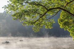 Beautiful foggy sunrise on a lake,Mae Hong Son,Thialand. Royalty Free Stock Image