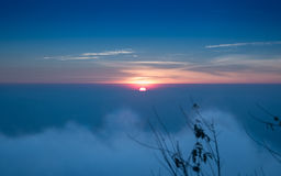 Beautiful foggy sunrise landscape in the morning Royalty Free Stock Photo
