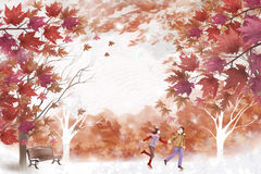 Beautiful foliage and young couples - Graphic painting texture. Holiday park landscape, Couples Dating Stock Photography
