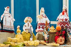 Beautiful folk rag dolls from Belarus. Souvenir. Belarusian national Rag doll. Folk art and souvenir Royalty Free Stock Images