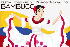 Beautiful Folkloric Queen Dancing in Traditional Colombian Bambuco Festival, Vector Illustration Royalty Free Stock Photo