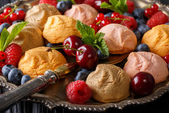 Beautiful food background: cookies and fresh berries close-up. h. Beautiful food background: cookies and fresh berries close-up in a dish. horizontal Royalty Free Stock Photo
