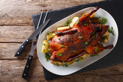 Beautiful food: baked whole duck with apples close-up on a platter. horizontal top view stock image
