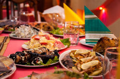 Beautiful food. On the celebratory table Stock Photography
