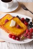 Beautiful food: French toast with berries and coffee Royalty Free Stock Photos