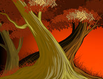 Beautiful forest evening scene vector nature background Royalty Free Stock Photography