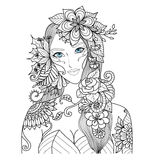Beautiful forest fairy for coloring book for adult Royalty Free Stock Photo